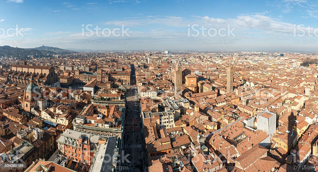 Bologna panorama extremley detailed, historic city shot from torre asinelli stock photo