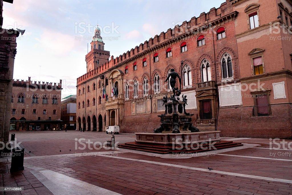 Bologna; Piazza Maggiore & Neptune fountain stock photo