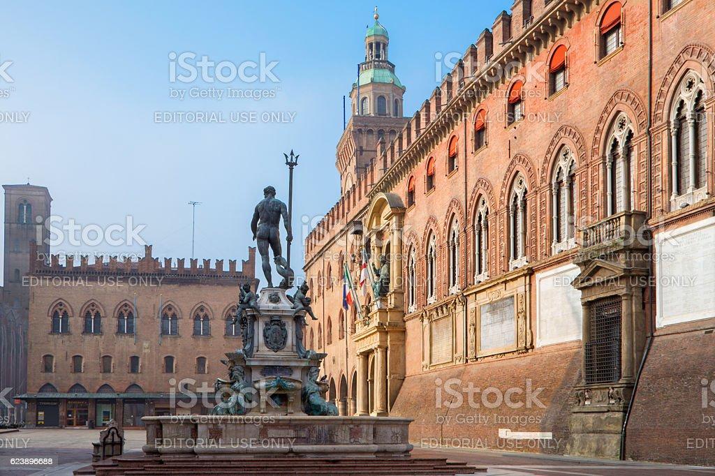 Bologna - Piazza Maggiore square and Palazzo Comunale stock photo