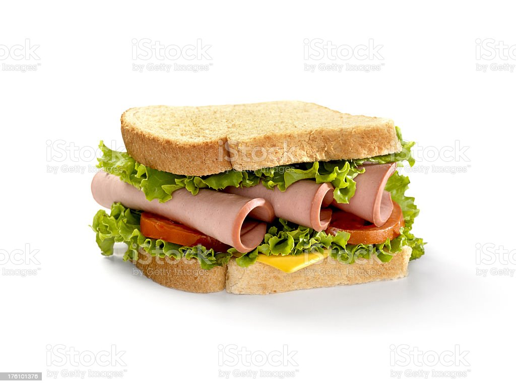 Bologna Sandwich with Lettuce,Tomato and Cheese stock photo