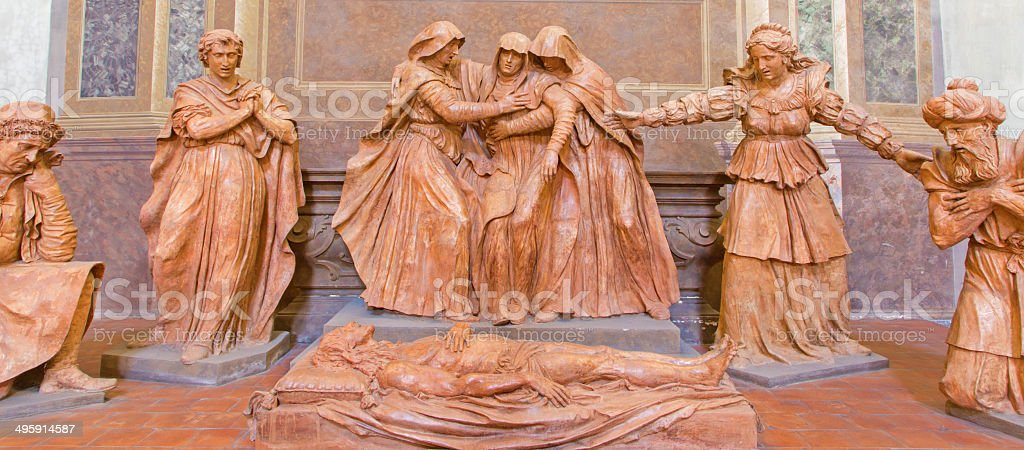 Bologna - sculptural group of Sorrow over Dead Christ stock photo