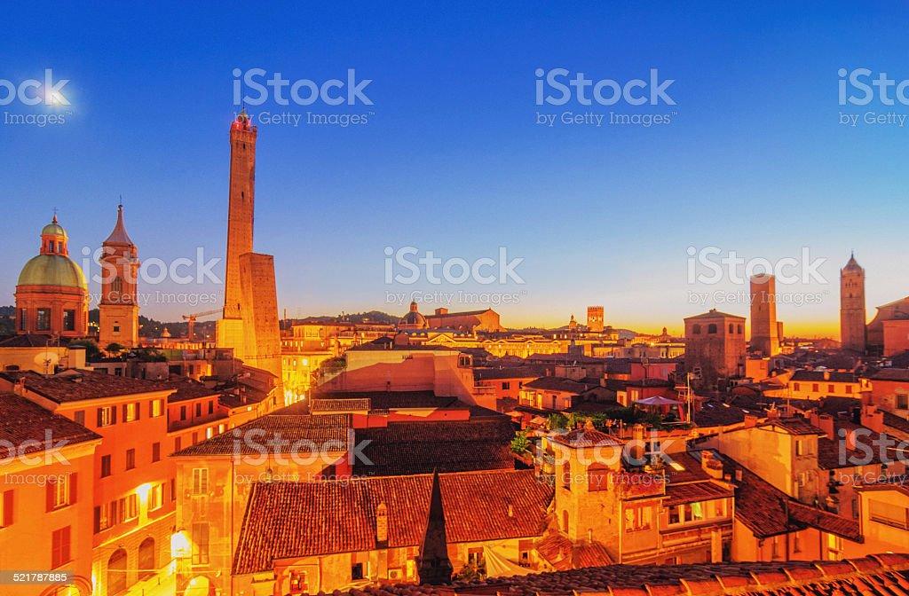 Bologna skyline at dusk stock photo