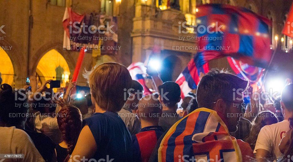 Bologna supporter in Nettuno Plaza stock photo