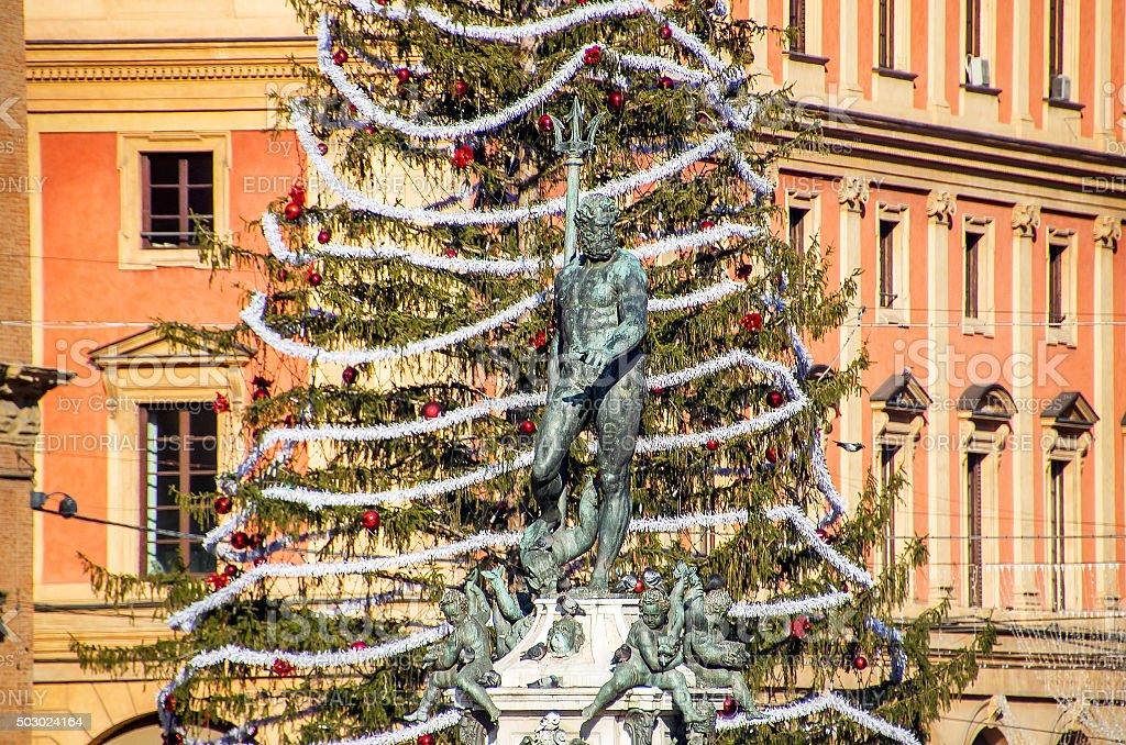 Bologna The Neptune fountain stock photo