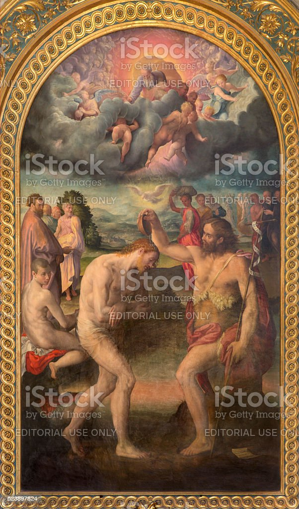 Bologna - The painting of baptism of Christ stock photo
