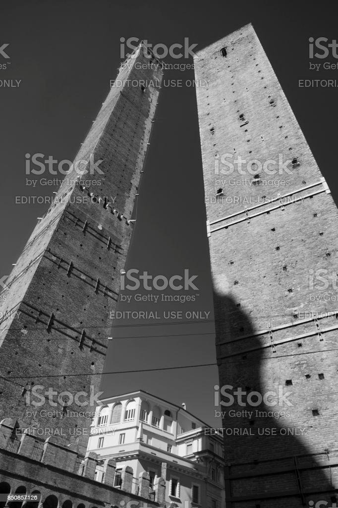 Bologna, the two towers stock photo