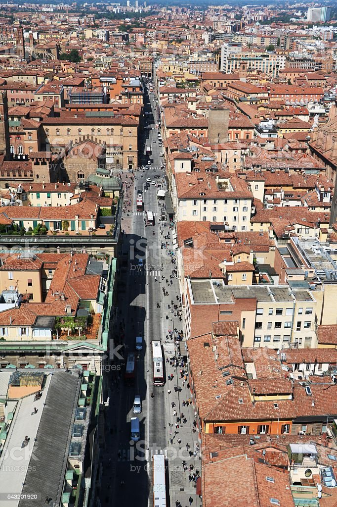 Bologna view from Asinelli Tower on a sunny day, Italy stock photo
