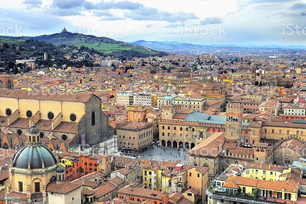 Bologna vista from Asinelli Tower, Italy stock photo