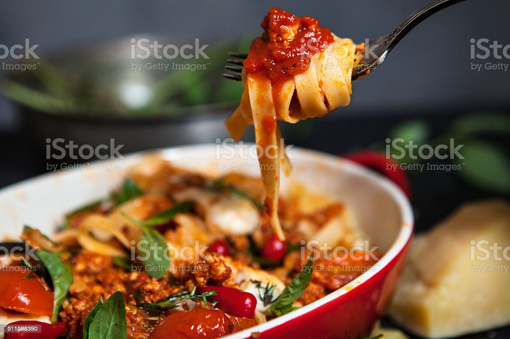 pasta bolognese stock photo