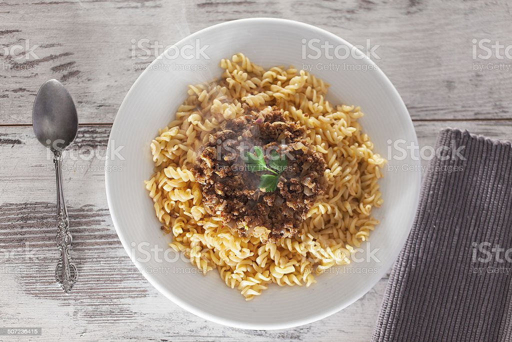 Bolognese sauce pasta stock photo