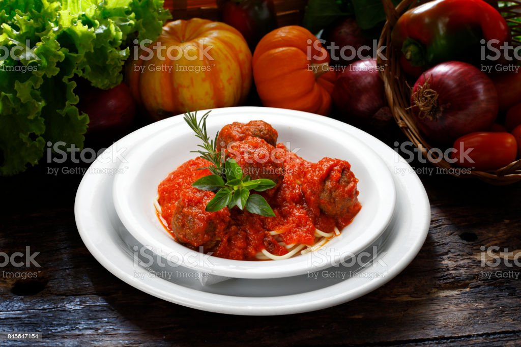 Bolognese Spaghetti with Meatballs stock photo