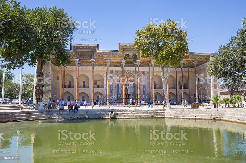 Bolo-Hauz Mosque in Bukhara, Uzbekistan stock photo