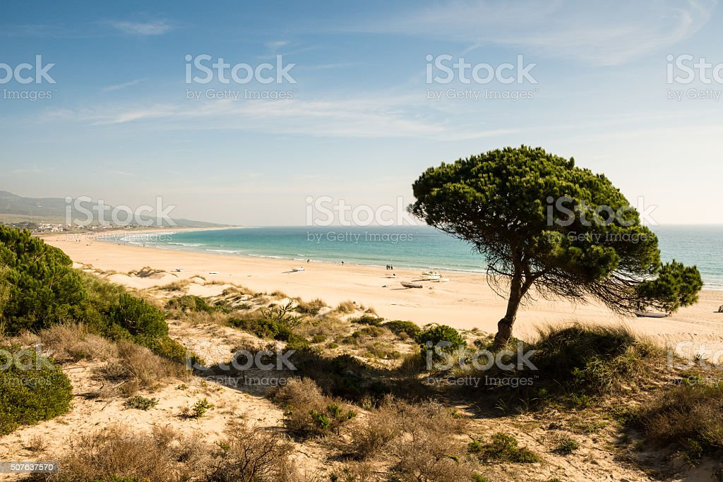 Bolonia beach ona beautiful winter day. stock photo