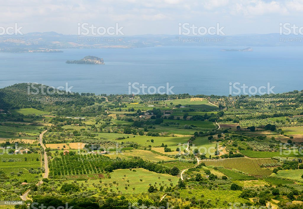 Bolsena lake from Montefiascone stock photo