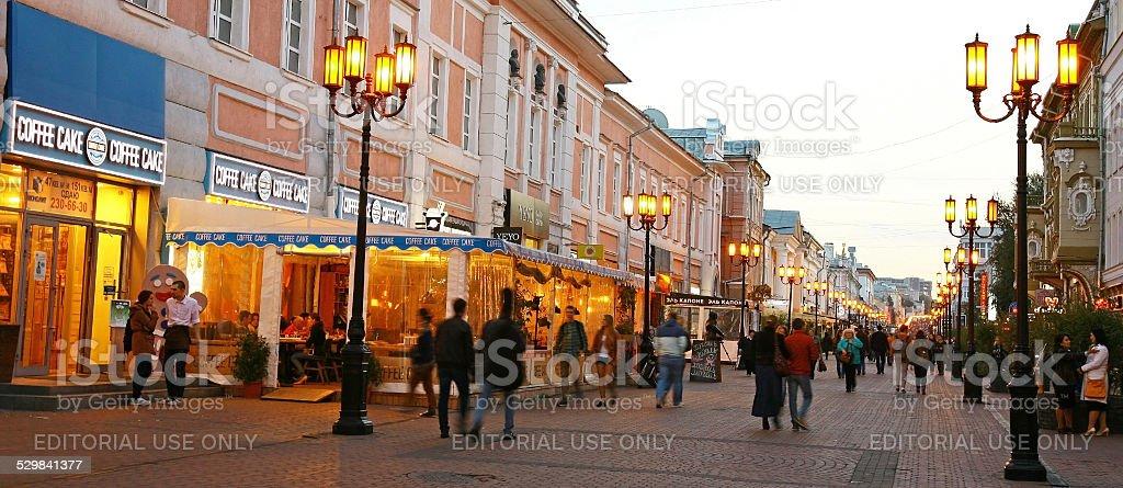 Bolshaya Pokrovskaya street in the autumn evening stock photo
