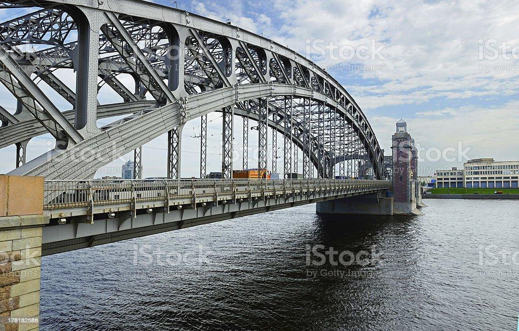 Bolsheokhtinsky Bridge (1909, June 26) royalty-free stock photo