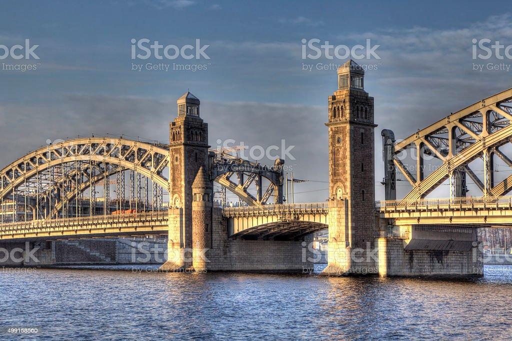 Bolsheokhtinsky bridge. St. Petersburg. Russia. stock photo