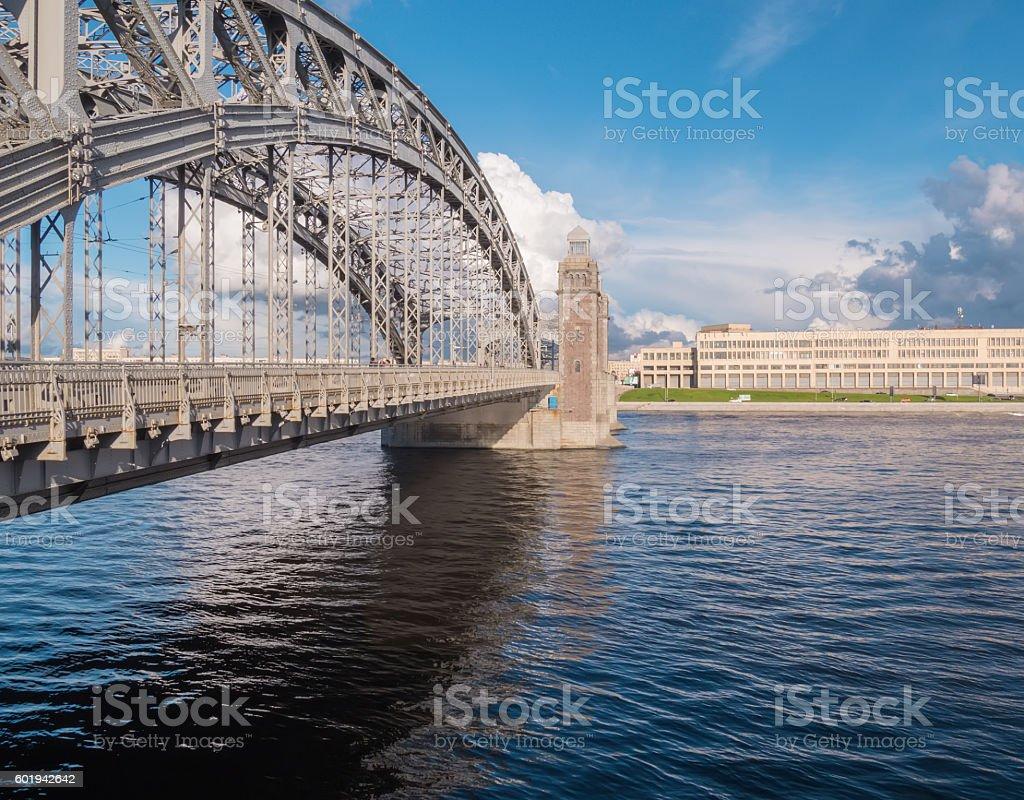 Bolsheokhtinsly bridge across Neva river, St.Petersburg, Russia stock photo