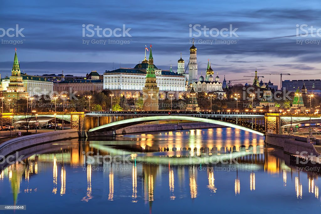 Bolshoy Kamenny Bridge and Kremlin stock photo