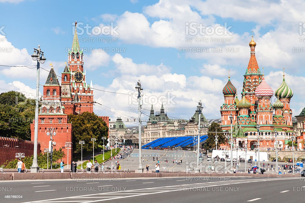 Bolshoy Moskvoretsky Bridge in Moscow, Russia stock photo