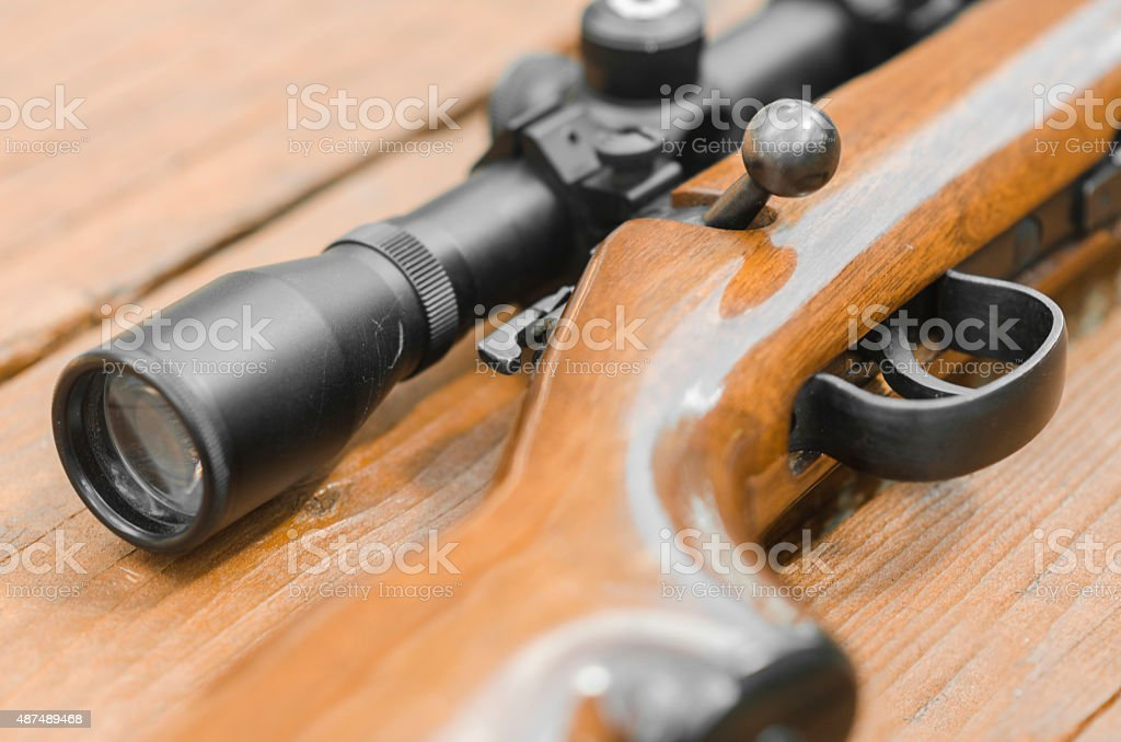 22 bolt action rifle with scope stock photo