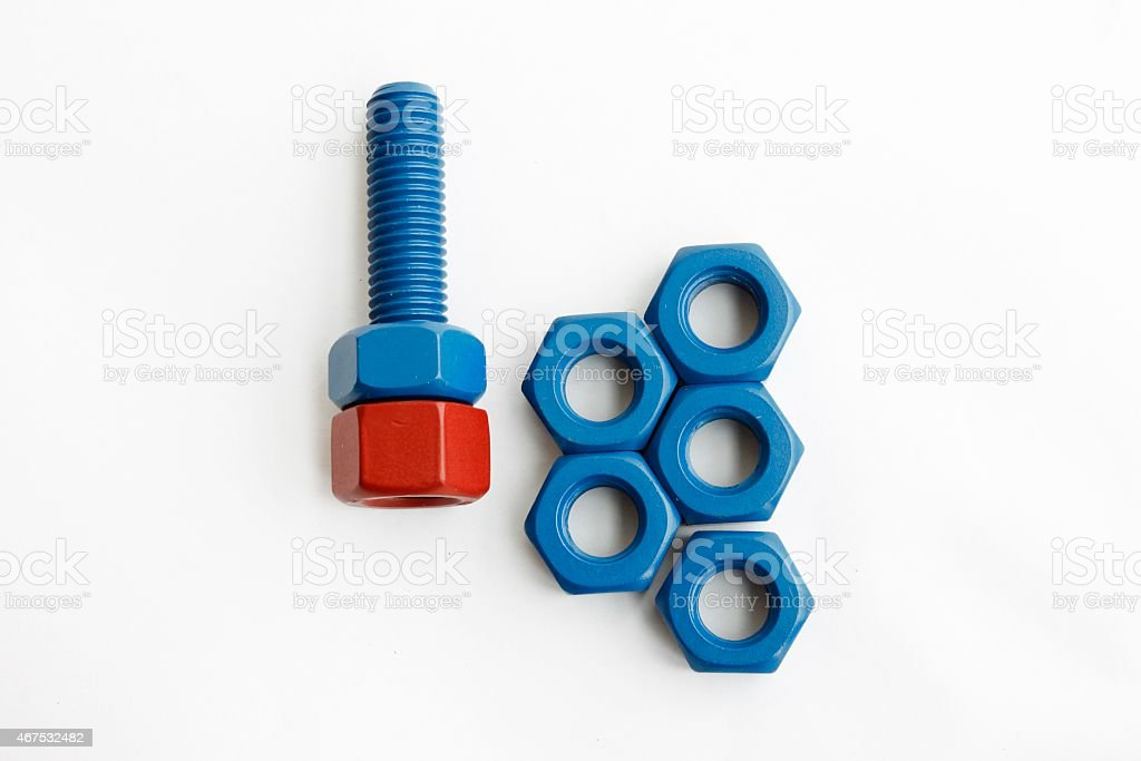 Bolt and nut in blue coated isolated on white background stock photo