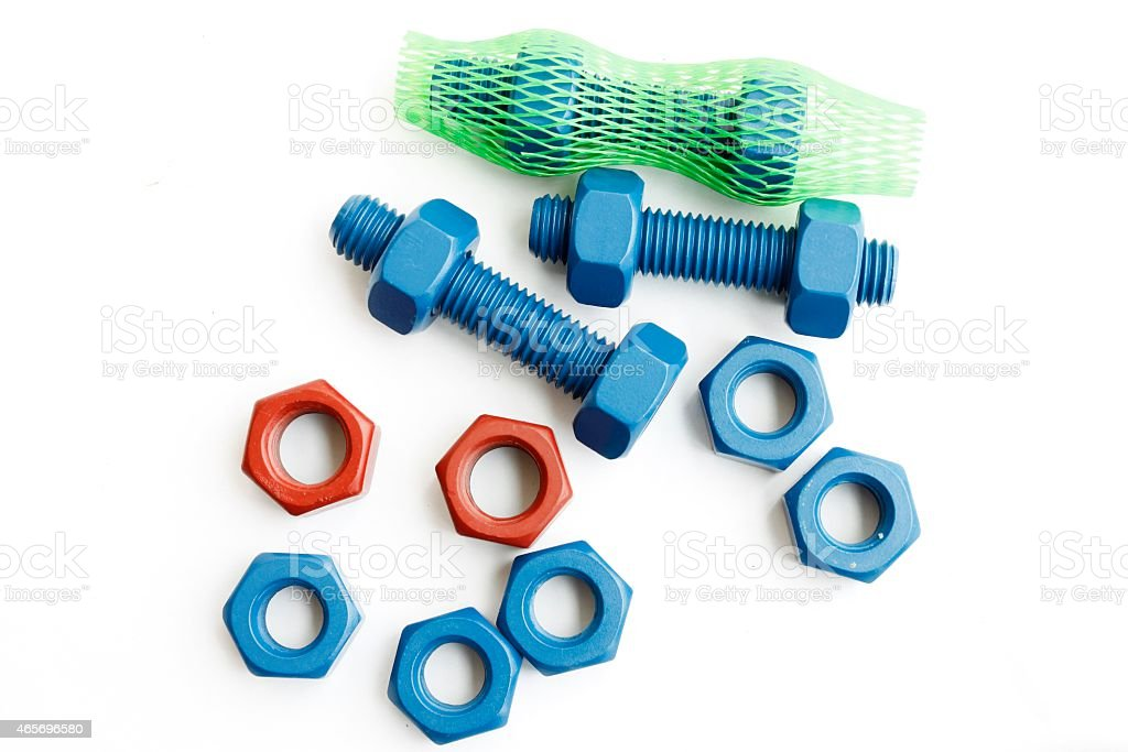 Bolt and nut in blue coated with PTFE stock photo