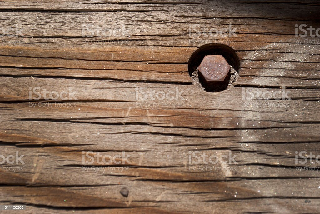 Bolt and wood stock photo