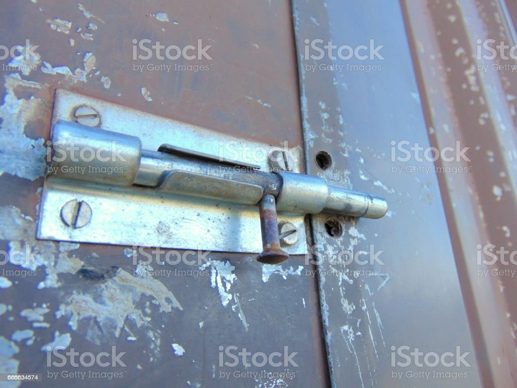 Old garden house - Bolt Locked On Old Garden House Royalty Free Stock Photo