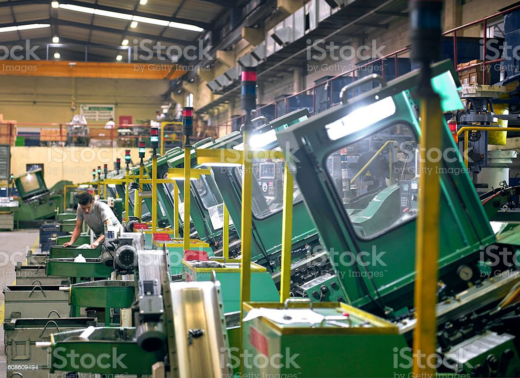 Bolt manufacturing factory stock photo