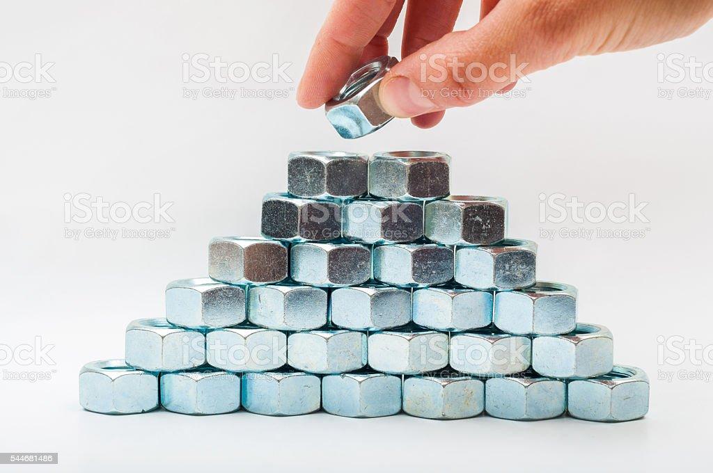 Bolt pyramid stock photo