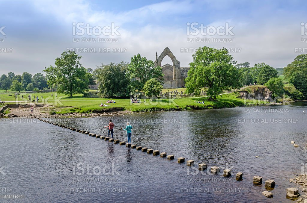 Bolton Abbey Stepping Stones stock photo