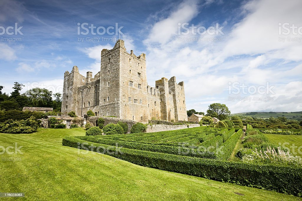 Bolton Castle and Maze in Yorkshire stock photo