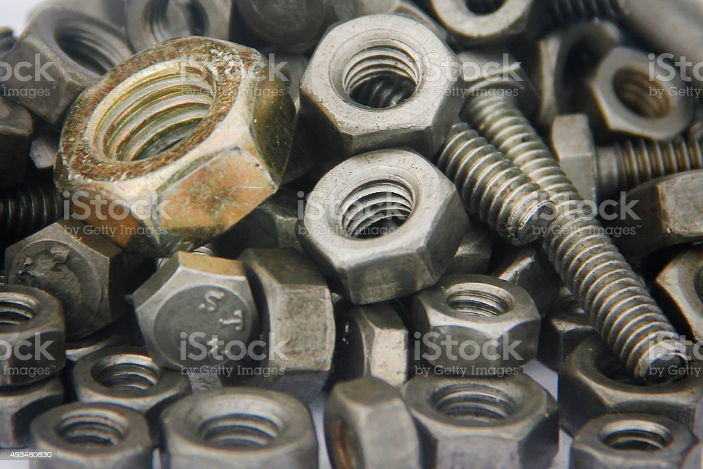 Bolts and nuts closeup stock photo