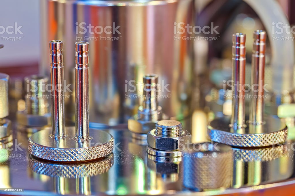 Bolts and nuts of the instrument stock photo