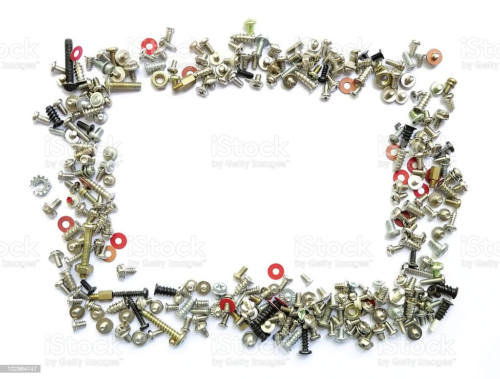 Bolts and screws frame on white background royalty-free stock photo