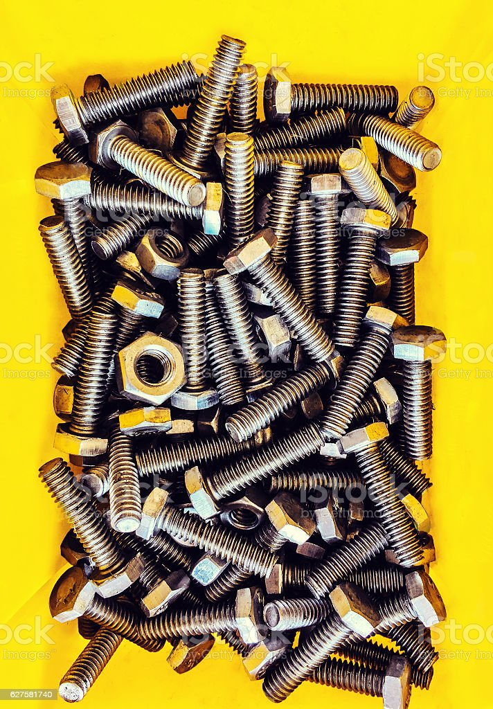 Bolts , Metal, Steel, Bolt, Backgrounds, Construction Industry stock photo