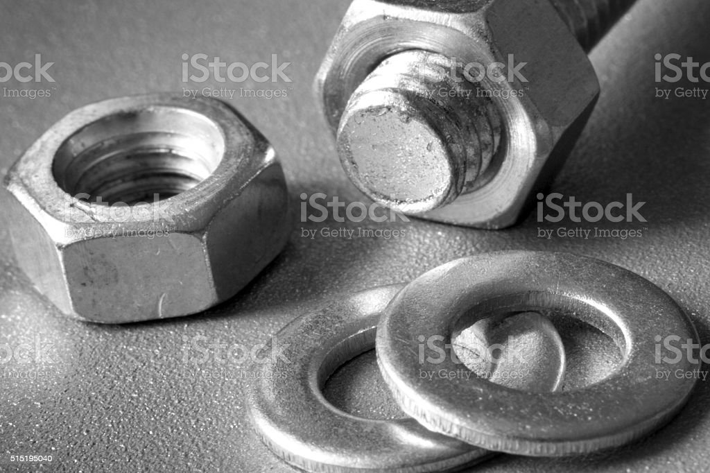 Bolts, nuts and washers stock photo