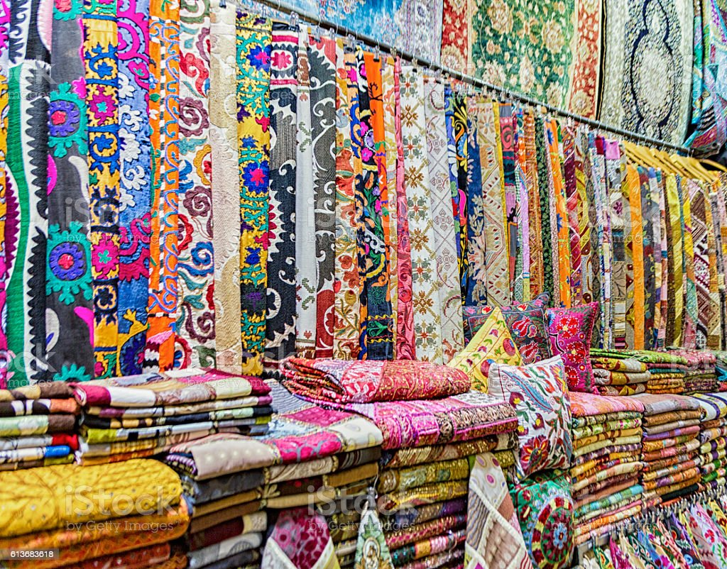 Bolts of Fabric for Sale in Grand Bazaar stock photo