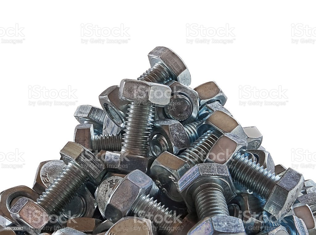 bolts with nuts wound on them royalty-free stock photo