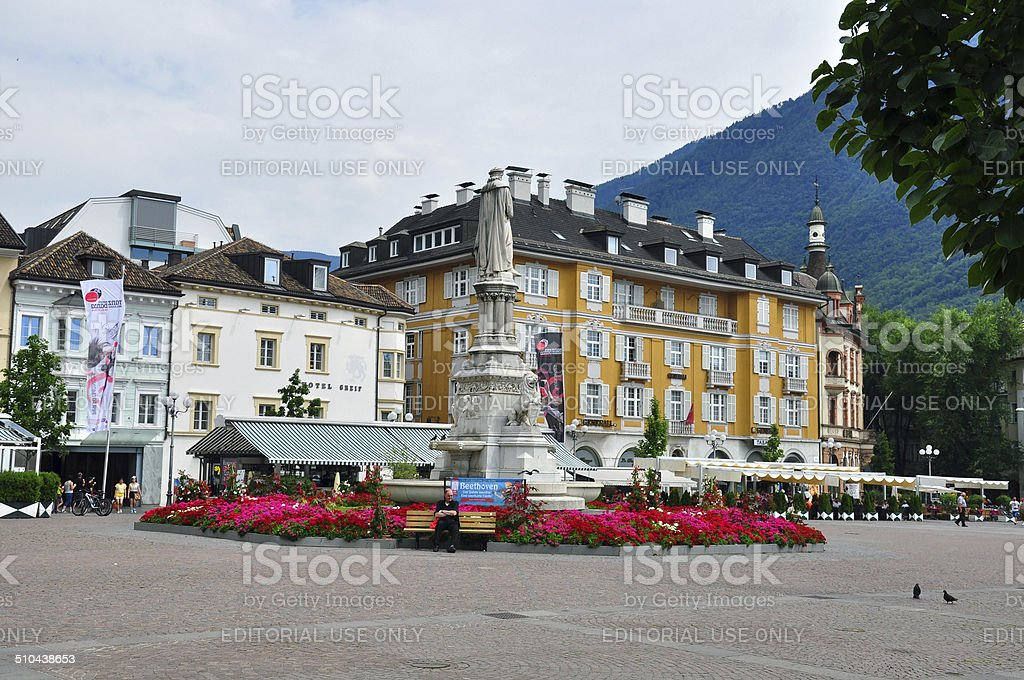 Bolzano town square, Italy stock photo