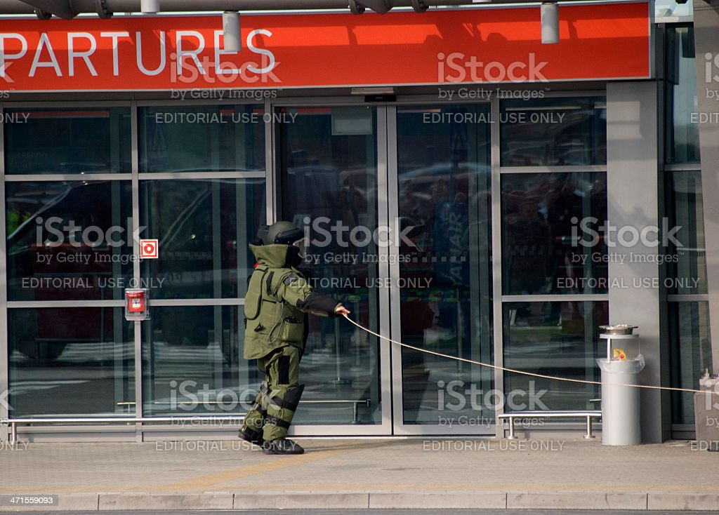 Bomb alarm, Modlin-Mazovia International Airport, Poland royalty-free stock photo