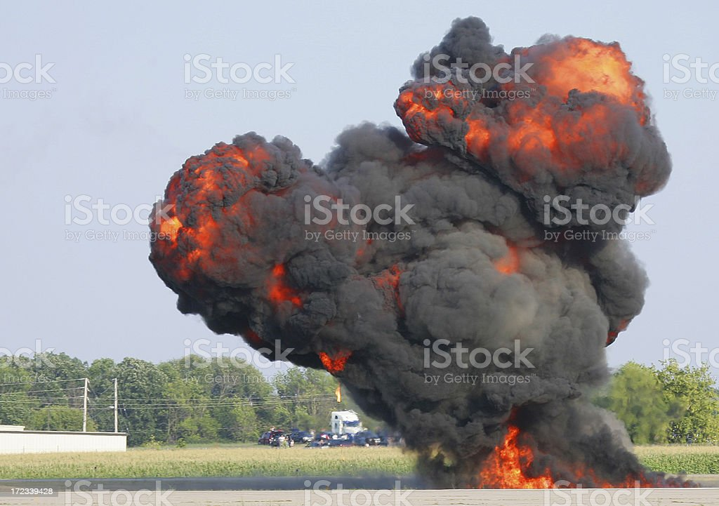 Bomb Blast Up In Smoke on Road royalty-free stock photo