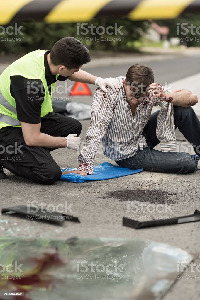 Bomb explosion victim stock photo