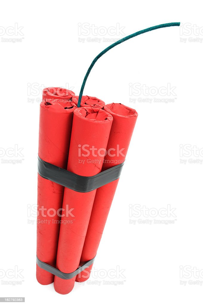 Bomb - Five Sticks of Red Dynamite with fuse stock photo