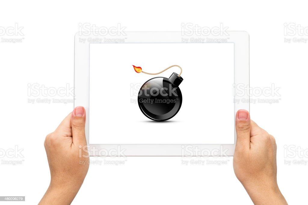 Bomb icon, hand with tablet stock photo