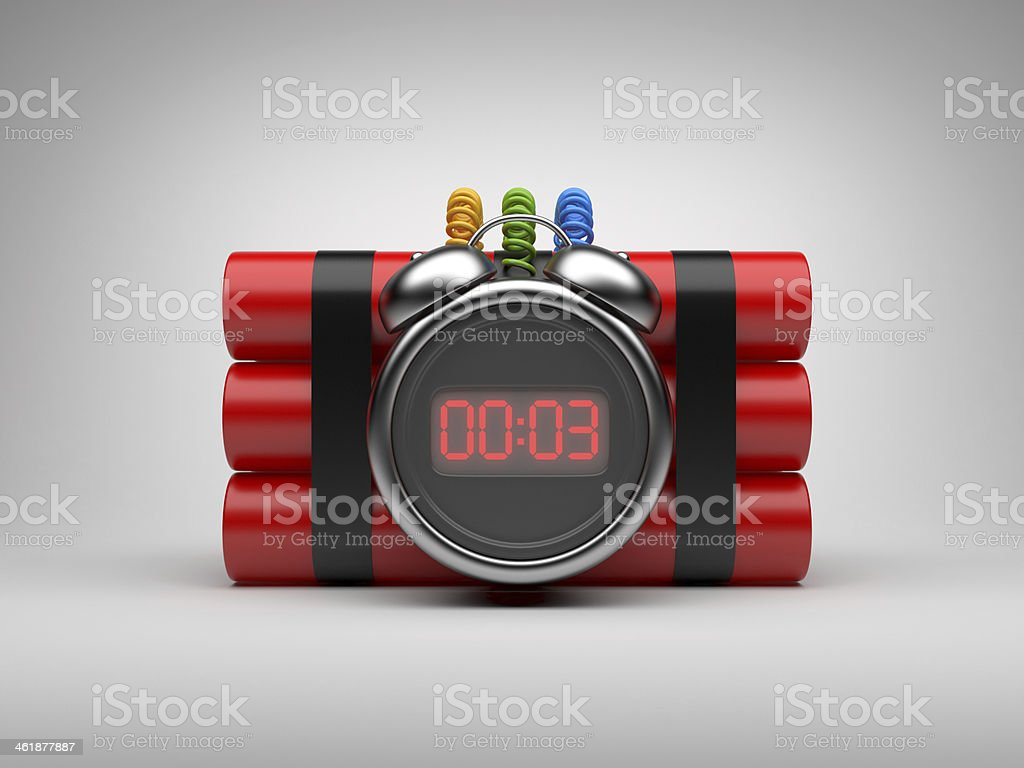 Bomb with clock timer 3D. Countdown stock photo