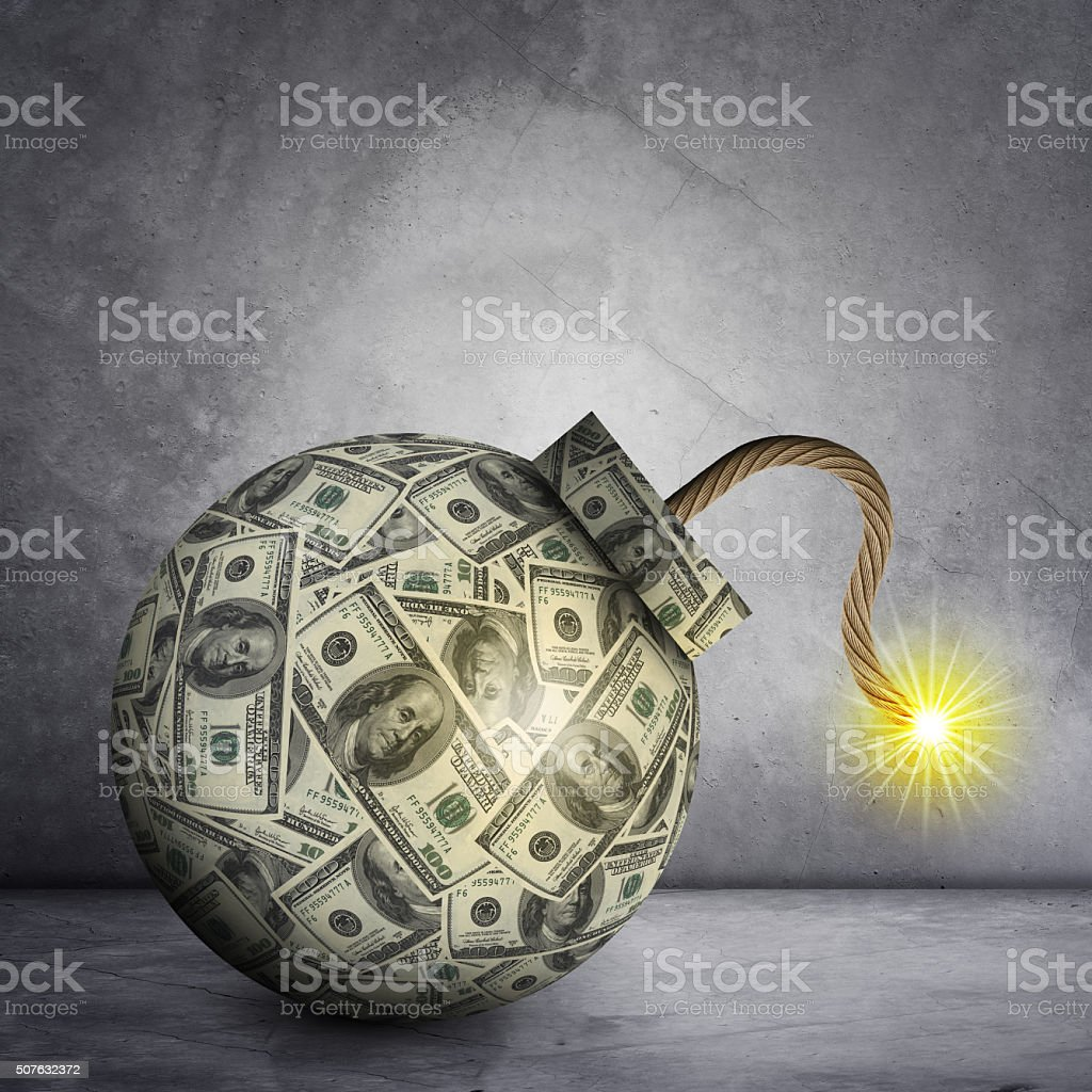 Bomb with ignited fuse stock photo