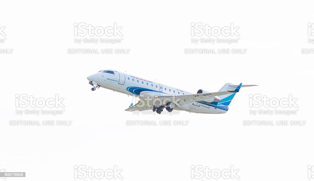 Bombardier CRJ200 in the sky stock photo