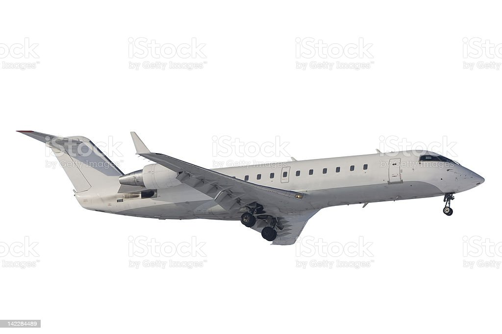 Bombardier CRJ200 prepared to landing. Isolated stock photo